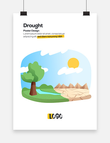 Drought Concept for Posters, Covers and Banners. Modern Flat Design Vector Illustration.
