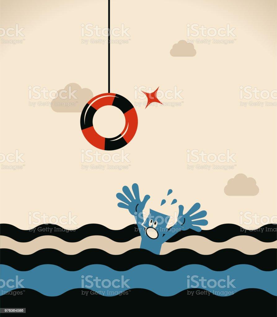 Drowning businessman getting lifebuoy for help vector art illustration
