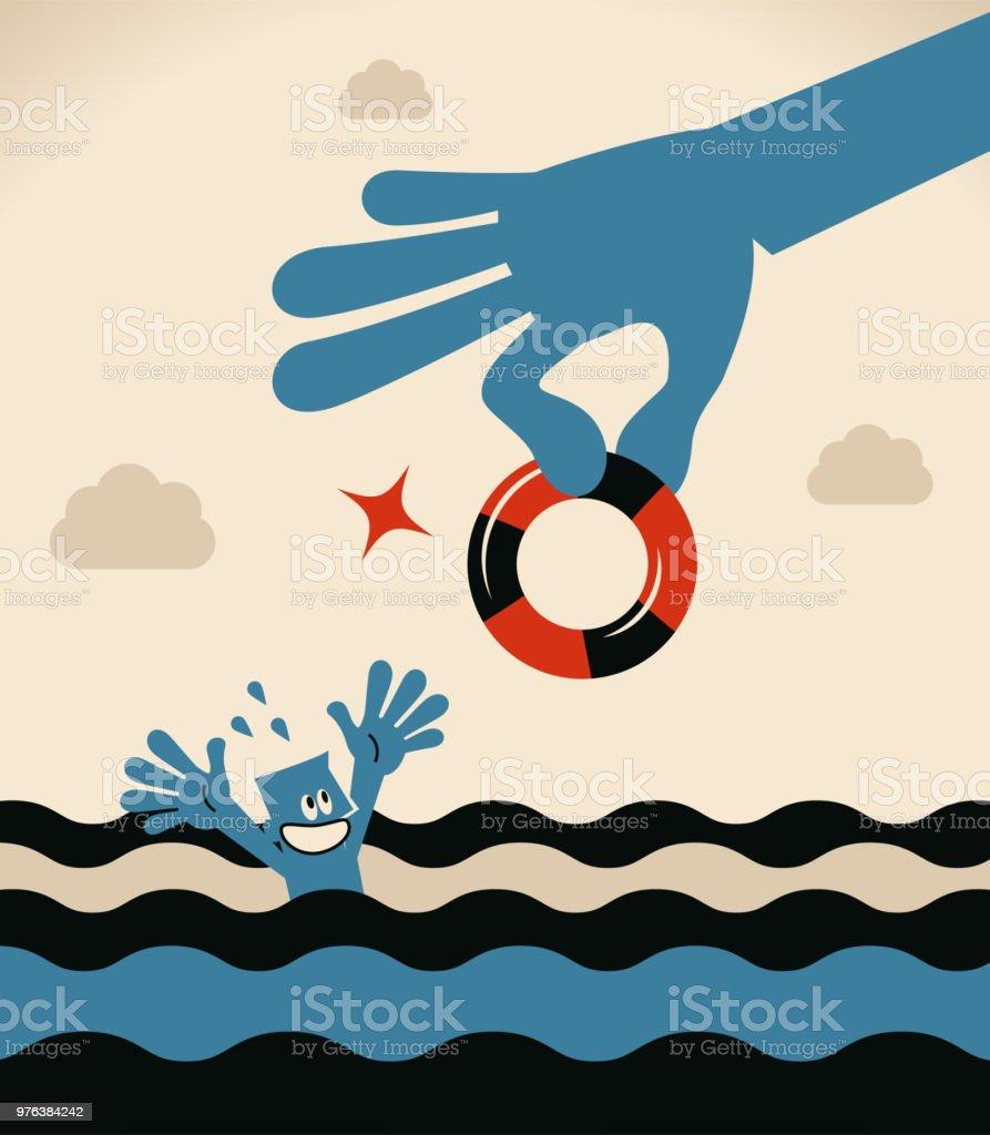 Ertrinken Geschäftsmann Rettungsring von eine große helfende Hand für die Hilfe bekommen – Vektorgrafik