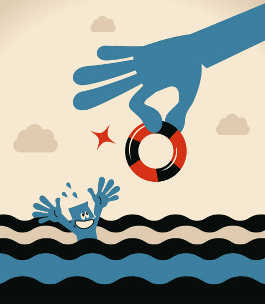 Drowning businessman getting lifebuoy from a big helping hand for help vector art illustration
