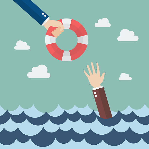 Drowning businessman getting lifebuoy from other businessman Drowning businessman getting lifebuoy from other businessman. Business concept crisis stock illustrations