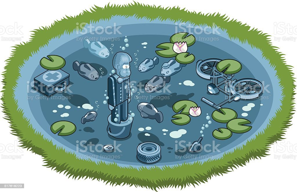 Drowning mafiosi wearing cement shoes underwater vector art illustration