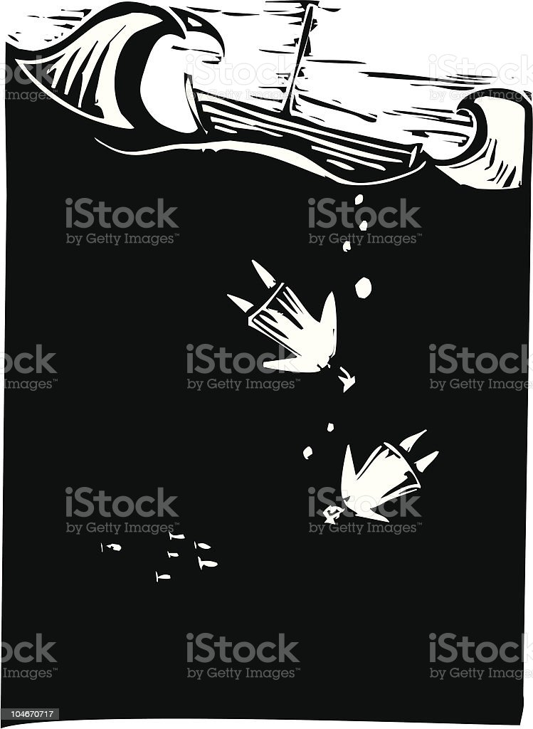Drowning vector art illustration