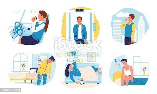Drowsiness. Cartoon men and women want to sleep. Isolated scenes of bored exhausted people. Sleepy characters at home and work or in transport. Difficult awakening in morning, vector yawning persons