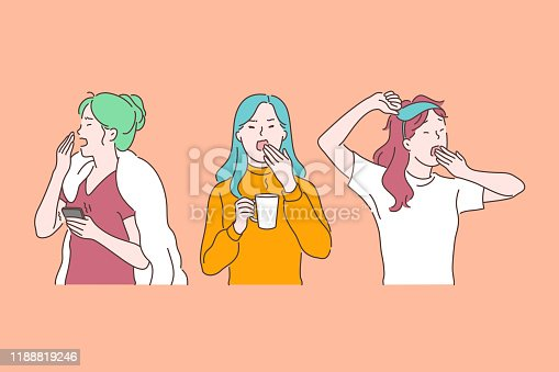 Drowsiness, morning fatigue and chronic exhaustion, feeling tired, burnout signs concept. Yawning drowsy young women with tiredness and overload, depression symptom. Simple flat vector