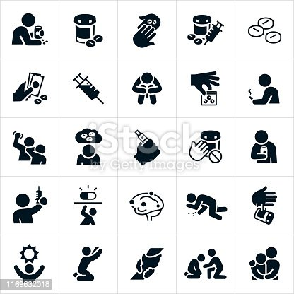 A set of drug abuse related icons as well as recovery from drug addiction. The icons include people abusing prescription drugs, mixing pills with alcohol, selling and buying opioids, a syringe, prescription pills, pill bottle, depression and isolation as a result from drug addiction, a bag of pills, smoking, vaping, anger and abuse resulting from drug abuse, syringe, overdose, pill disposal and the effects of drugs on the brain. The set also includes icons of hope and recovery. They show a person reaching for the sun, a person kneeling and reaching for help, a rescuing hand and an arm around the shoulder.