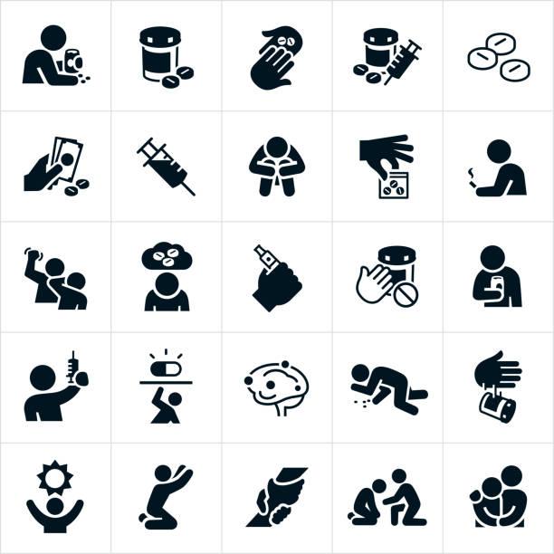 ikony narkomanii i odzyskiwania - lekarstwo stock illustrations