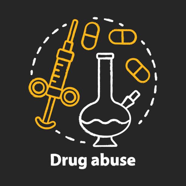 bildbanksillustrationer, clip art samt tecknat material och ikoner med ikon för drogmissbrukskrita koncept. narkotiska, opioidberoende idé. bong, spruta och piller. kokain, heroin och marijuana. missbruk. vektor isolerad tavlan illustration - amphetamine pills