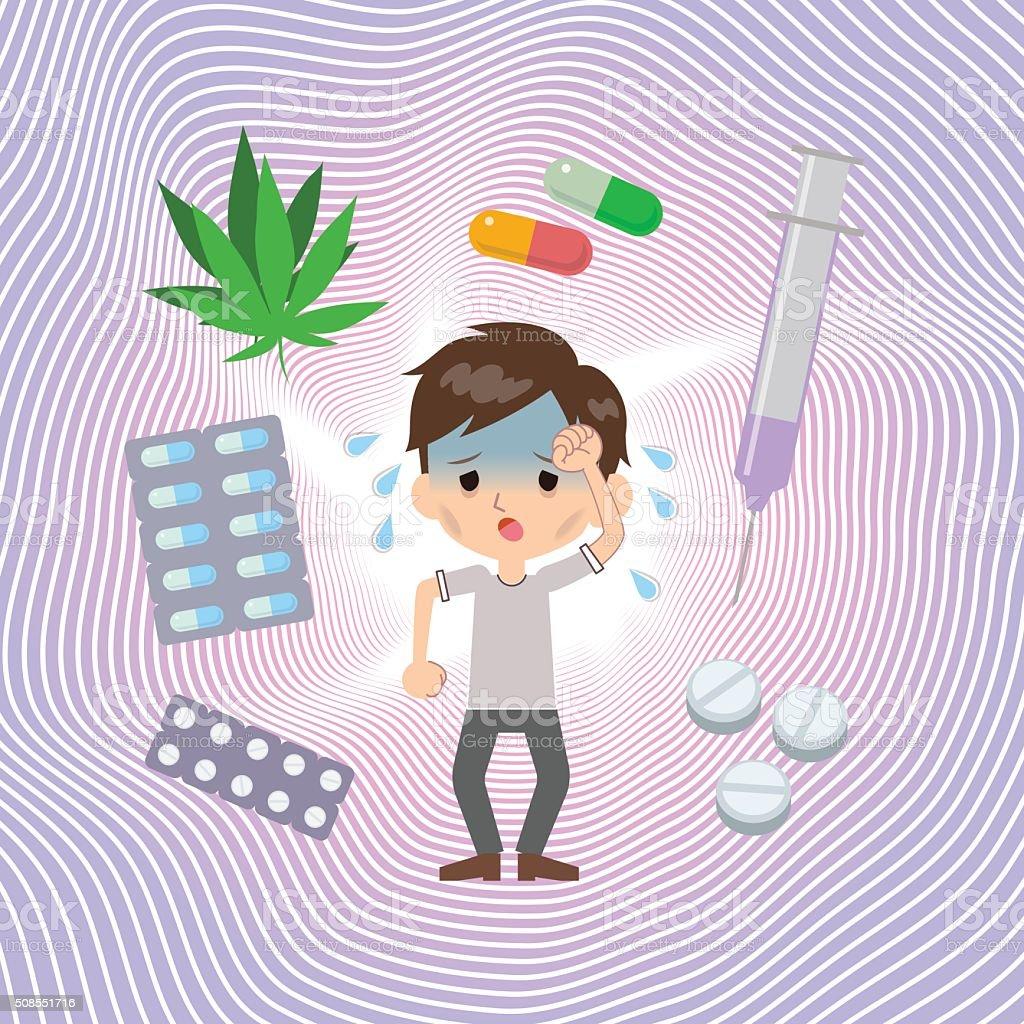 薬物中毒患者痛み ベクターアートイラスト