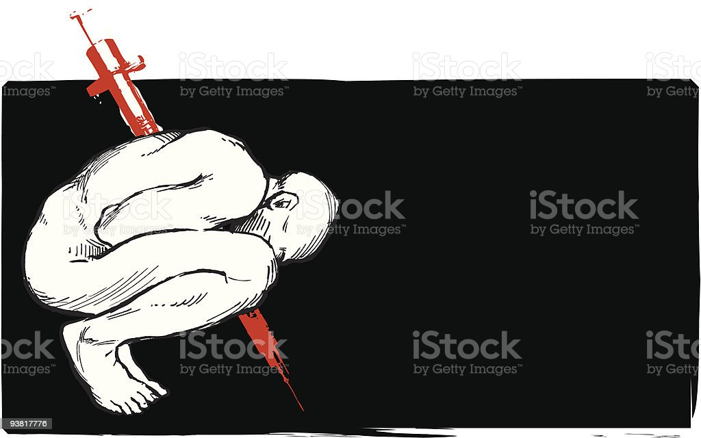 Drug Addict with  Needle Through His Body Against Black Background royalty-free stock vector art