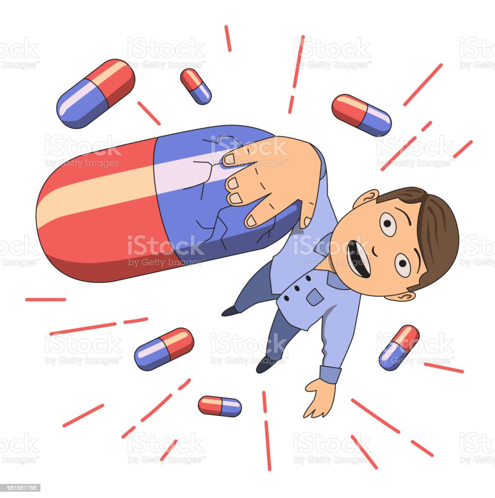 Drug addiction. Scared guy hanging on a pill. Vector illustration. Isolated on white background. vector art illustration