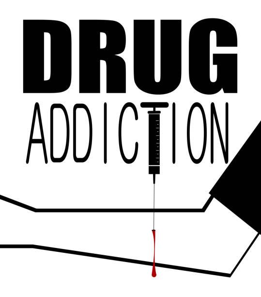stockillustraties, clipart, cartoons en iconen met drugsverslaving - amfetamine