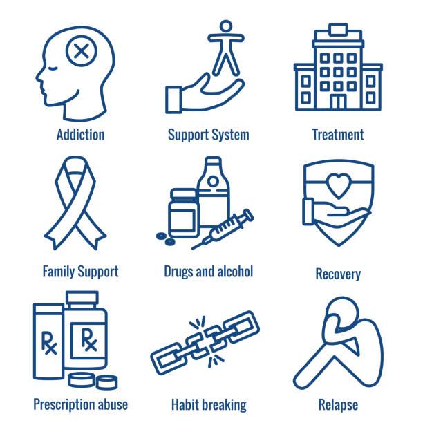 illustrazioni stock, clip art, cartoni animati e icone di tendenza di drug & alcohol dependency icon set - supporto, recupero e trattamento - assuefazione