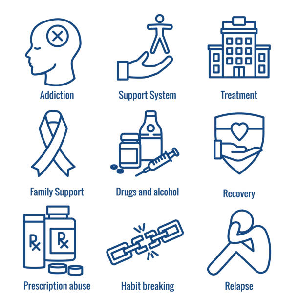 Drug & Alcohol Dependency Icon Set - support, recovery, and treatment Drug & Alcohol Dependency Icon Set w support, recovery, and treatment addict stock illustrations