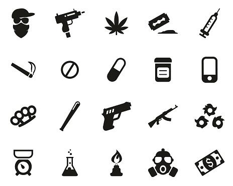 Drug Dealer Or Drug Cartel Icons Black & White Set Big
