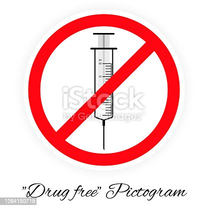 istock Drug free pictogram, black and white 1264150719