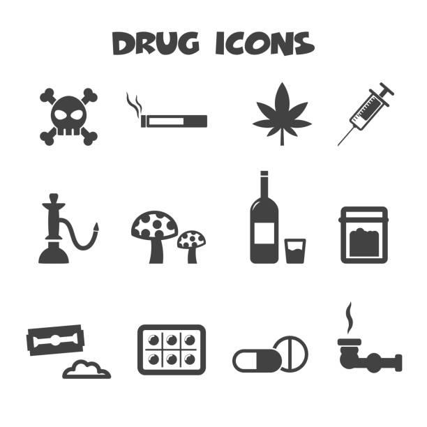 illustrations, cliparts, dessins animés et icônes de icônes de drogue - alcool