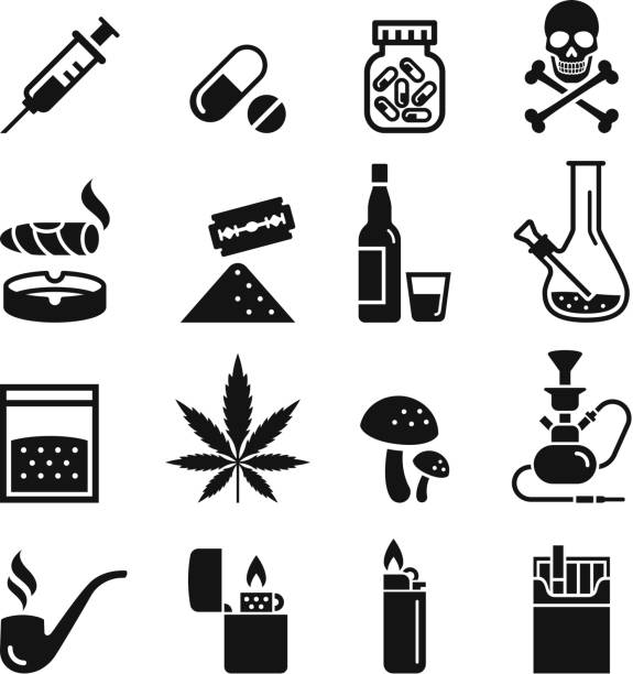 illustrazioni stock, clip art, cartoni animati e icone di tendenza di drug icons. vector illustrations. - farmaco