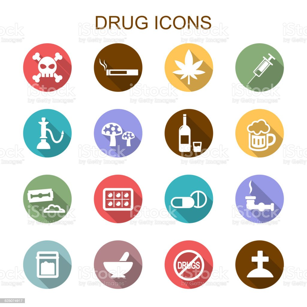 drug long shadow icons vector art illustration