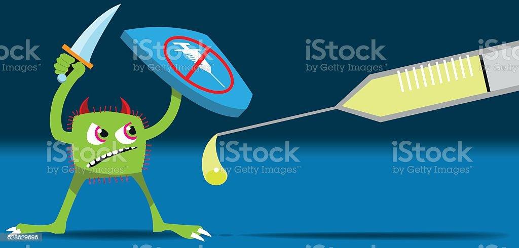Drug resistant virus vector art illustration