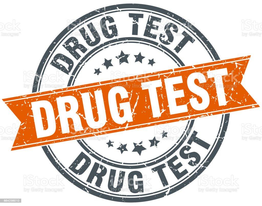 drug test round grunge ribbon stamp vector art illustration