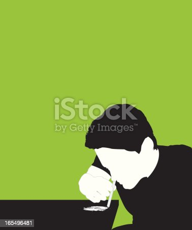 A man inhales cocaine through a straw. EPS, Layered PSD, High-Resolution JPG included.