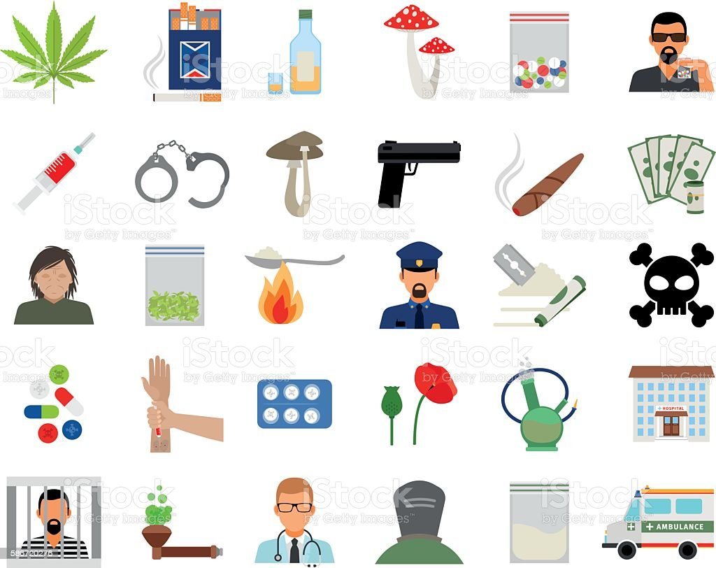 Drugs and addiction flat icons vector art illustration