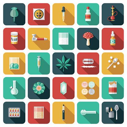 Drugs and Addiction Icon Set