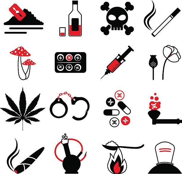 drugs and alcohol addiction icons - methamphetamin stock-grafiken, -clipart, -cartoons und -symbole
