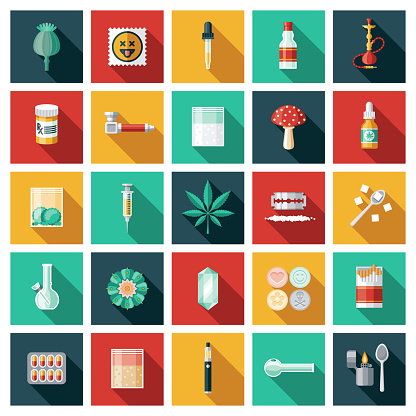 Drugs and Controlled Substances Icon Set
