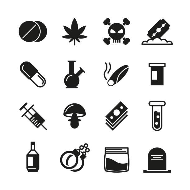 ilustrações de stock, clip art, desenhos animados e ícones de fármacos preto vector conjunto de ícones de - narcótico