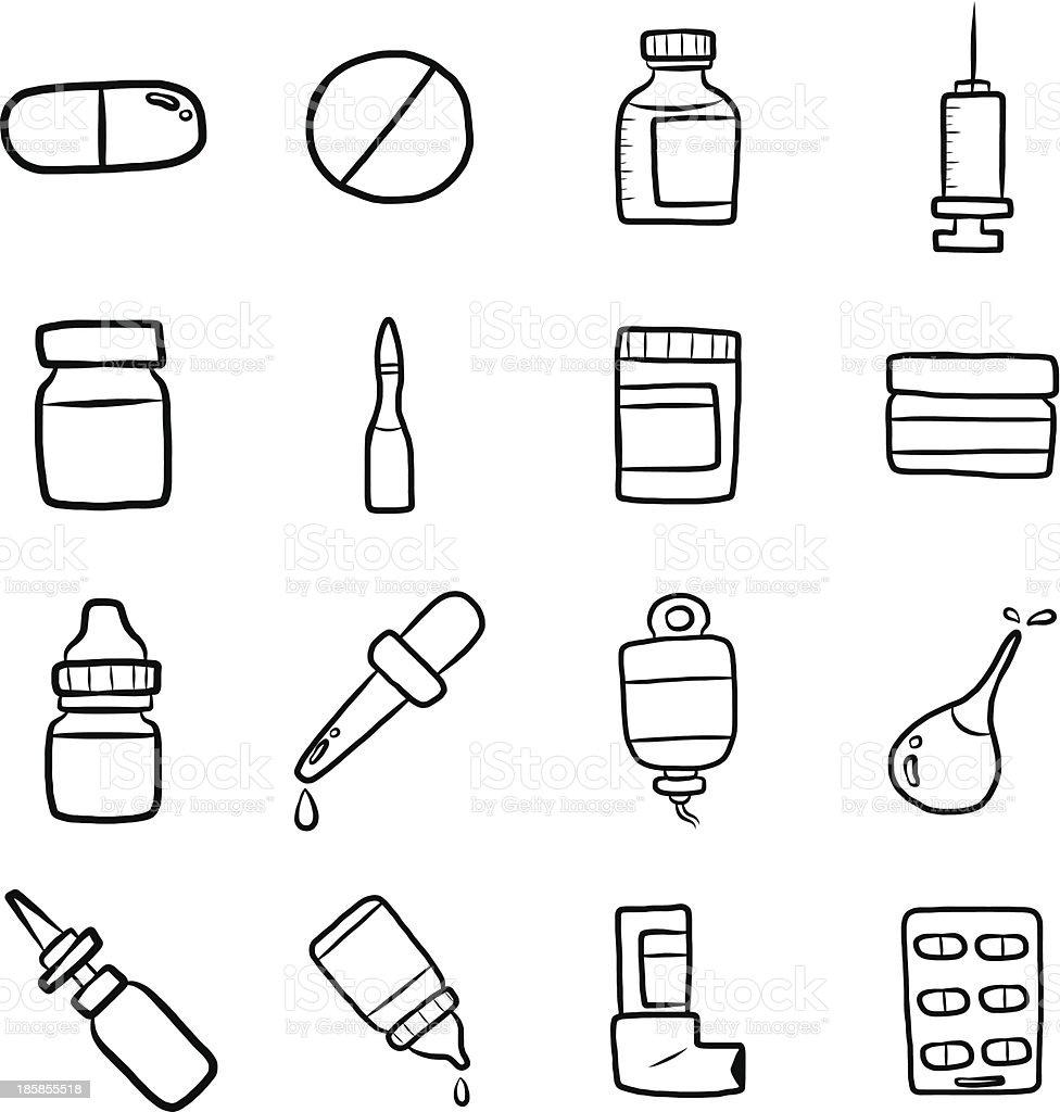 drugs cartoon set vector art illustration