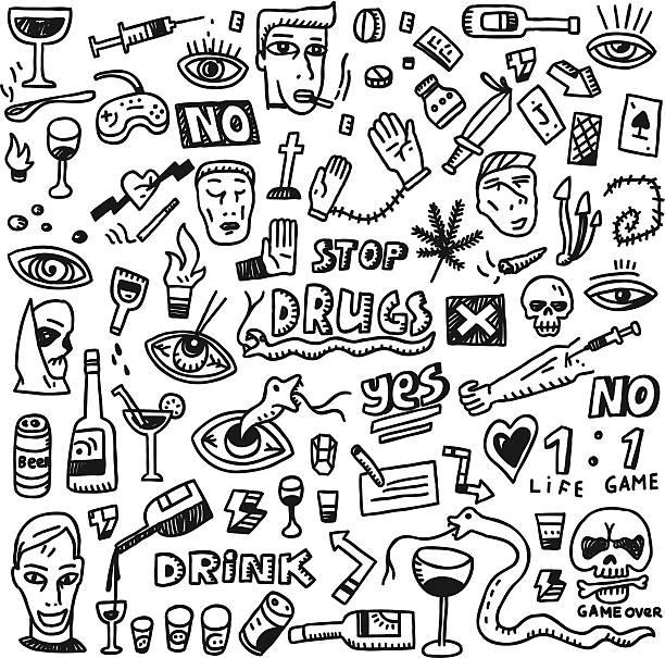 stockillustraties, clipart, cartoons en iconen met drugs - doodles set - amfetamine