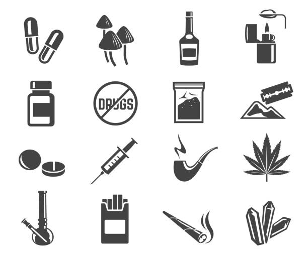 Drugs glyph icons set isolated on white background vector art illustration