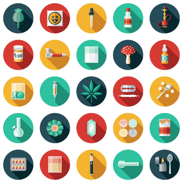 illustrazioni stock, clip art, cartoni animati e icone di tendenza di drugs icon set - farmaco