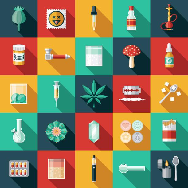 bildbanksillustrationer, clip art samt tecknat material och ikoner med droger ikonuppsättning - amphetamine pills