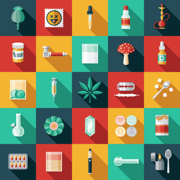 stockillustraties, clipart, cartoons en iconen met drugs icon set - amfetamine