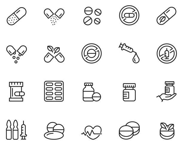 zestaw ikon narkotyków - kapsułka stock illustrations