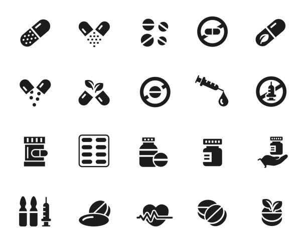 Drugs icon set Drugs icon set , vector illustration aspirin stock illustrations