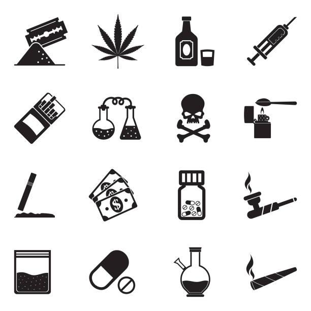 stockillustraties, clipart, cartoons en iconen met de pictogrammen van de drugs. zwart plat design. vectorillustratie. - amfetamine