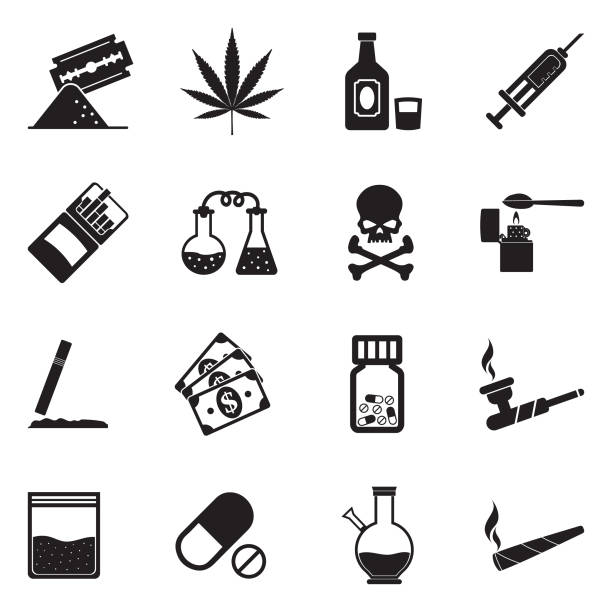 Drugs Icons. Black Flat Design. Vector Illustration. Marijuana, Lsd, Methamphetamine, Cocaine, Heroin, Addict marijuana joint stock illustrations
