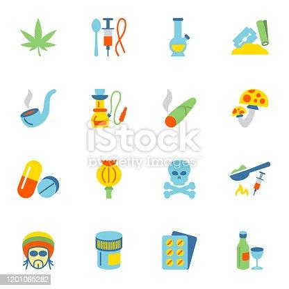 Abuse addictive poison drugs icons flat set isolated vector illustration.