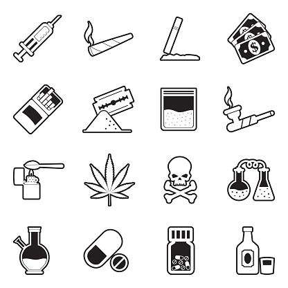 Drugs Icons. Line With Fill Design. Vector Illustration.