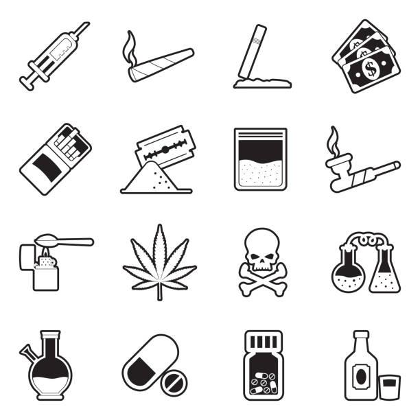 stockillustraties, clipart, cartoons en iconen met drugs iconen. lijn met vulling ontwerp. vector illustratie. - amfetamine