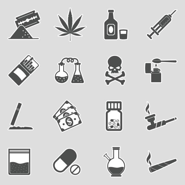 drogen-icons. sticker-design. vector illustration. - methamphetamin stock-grafiken, -clipart, -cartoons und -symbole