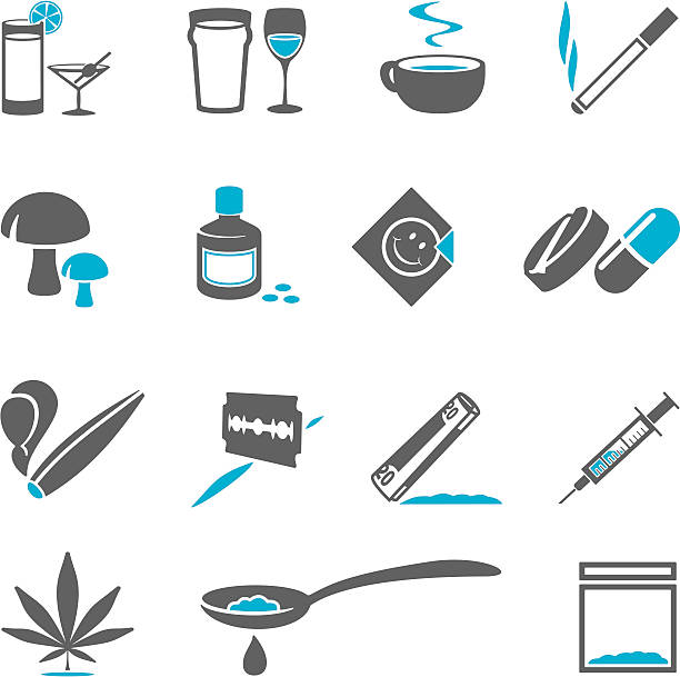 Drugs Icons Legal and illegal drugs heroin stock illustrations