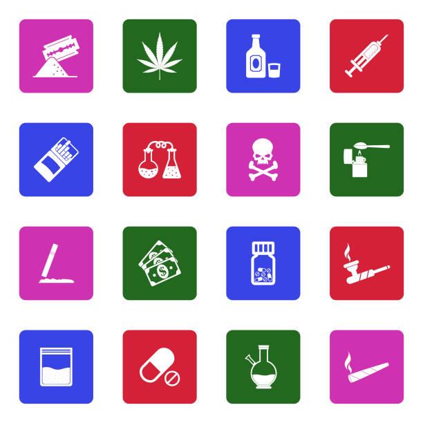 drogen-symbole. weiße flache design im quadrat. vektor-illustration. - methamphetamin stock-grafiken, -clipart, -cartoons und -symbole