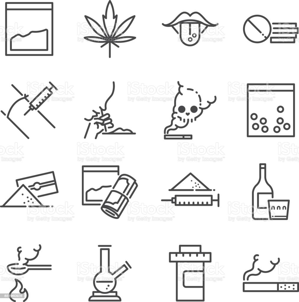 Drugs line icon set. Included the icons as junkie, cocaine, cannabis, tablets, addicted, illegal and more. vector art illustration
