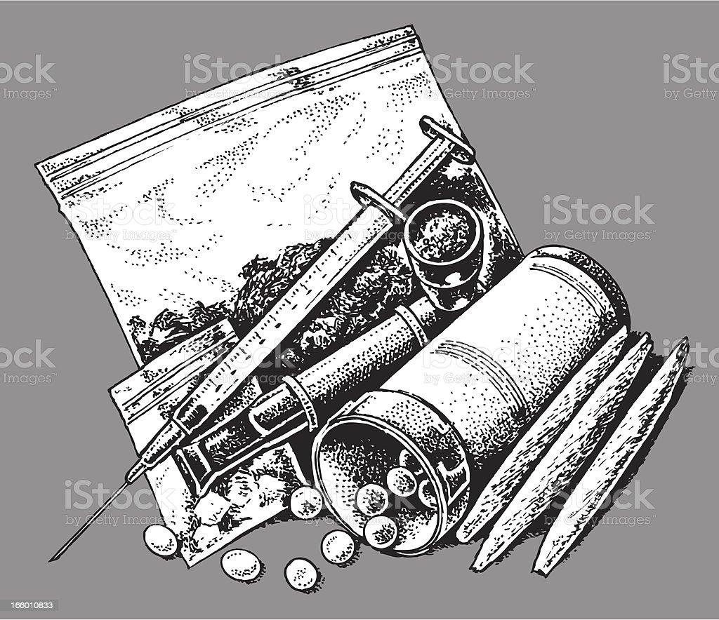 Drugs - Prescription, Recreational, Addictive vector art illustration