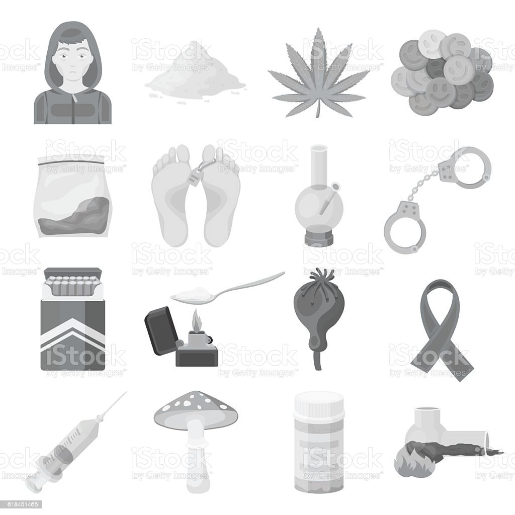 Drugs set icons in monochrome style. Big collection of drugs vector art illustration